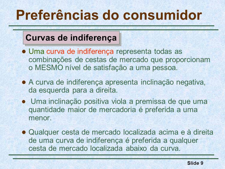 Slide 9 Preferências do consumidor Uma curva de indiferença representa todas as combinações de cestas de mercado que proporcionam o MESMO nível de satisfação a uma pessoa.