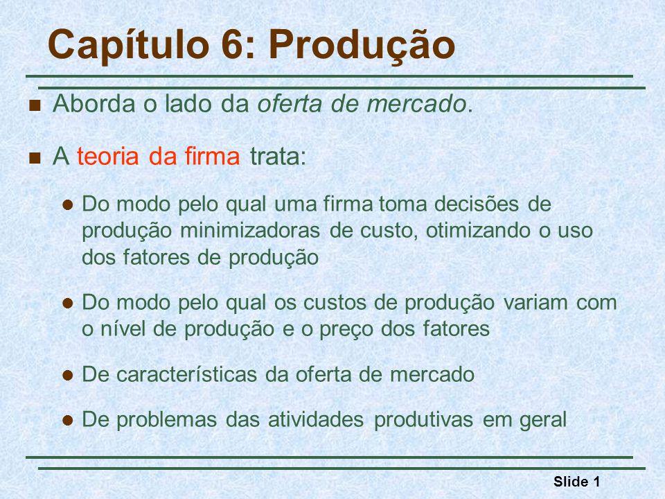 Slide 1 Capítulo 6: Produção Aborda o lado da oferta de mercado. A teoria da firma trata: Do modo pelo qual uma firma toma decisões de produção minimi