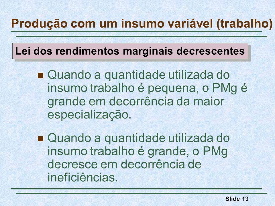 Slide 13 Quando a quantidade utilizada do insumo trabalho é pequena, o PMg é grande em decorrência da maior especialização. Quando a quantidade utiliz