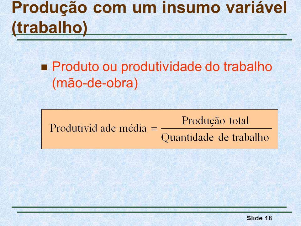 Slide 18 Produto ou produtividade do trabalho (mão-de-obra) Produção com um insumo variável (trabalho)