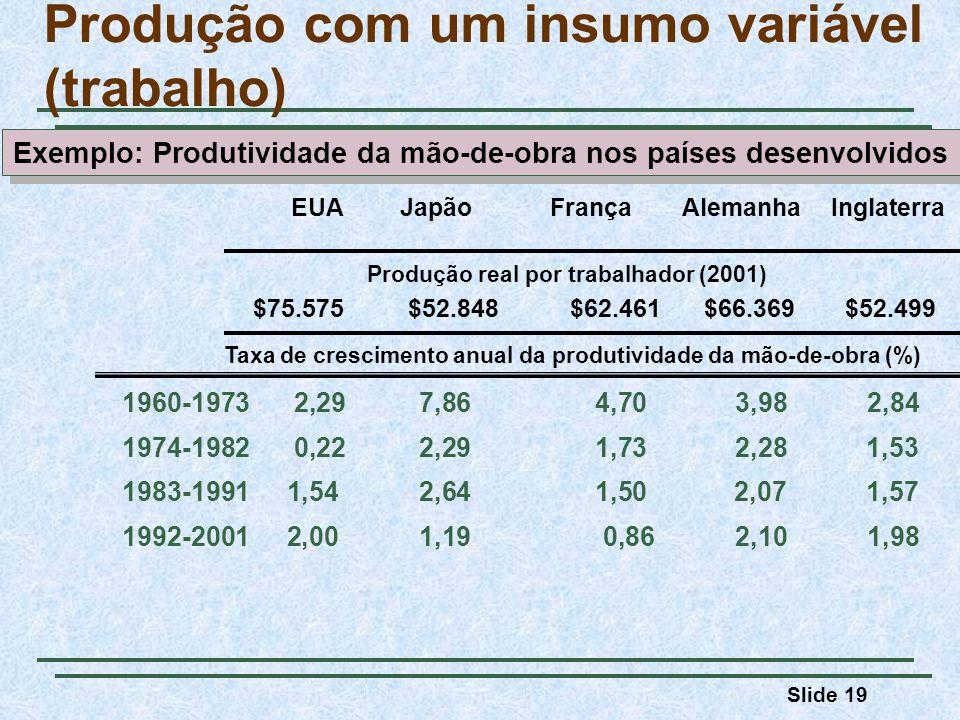 Slide 19 Produção com um insumo variável (trabalho) 1960-1973 2,29 7,86 4,70 3,98 2,84 1974-1982 0,22 2,29 1,73 2,28 1,53 1983-1991 1,54 2,64 1,50 2,07 1,57 1992-2001 2,00 1,19 0,86 2,10 1,98 EUA Japão França Alemanha Inglaterra Taxa de crescimento anual da produtividade da mão-de-obra (%) $75.575 $52.848 $62.461 $66.369 $52.499 Produção real por trabalhador (2001) Exemplo: Produtividade da mão-de-obra nos países desenvolvidos