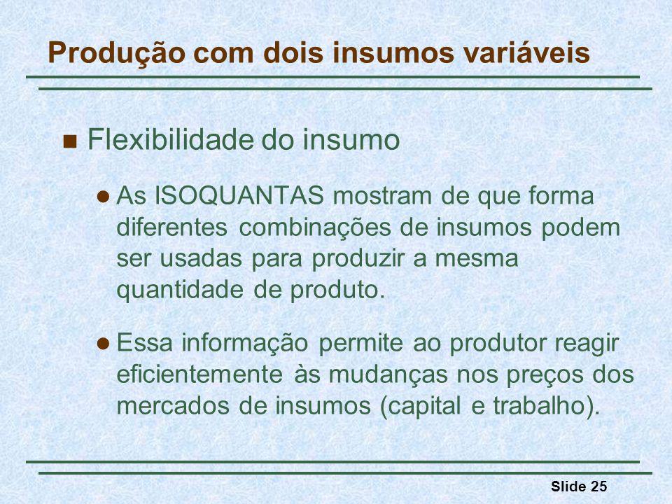 Slide 25 Produção com dois insumos variáveis Flexibilidade do insumo As ISOQUANTAS mostram de que forma diferentes combinações de insumos podem ser usadas para produzir a mesma quantidade de produto.