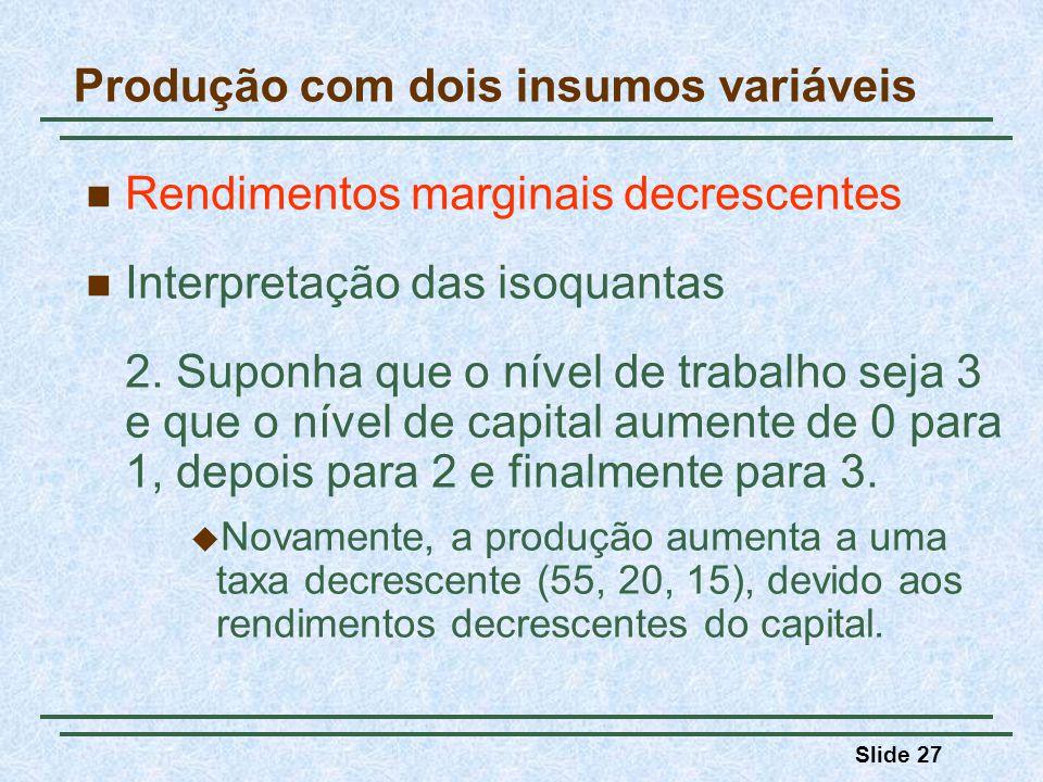 Slide 27 Rendimentos marginais decrescentes Interpretação das isoquantas 2. Suponha que o nível de trabalho seja 3 e que o nível de capital aumente de