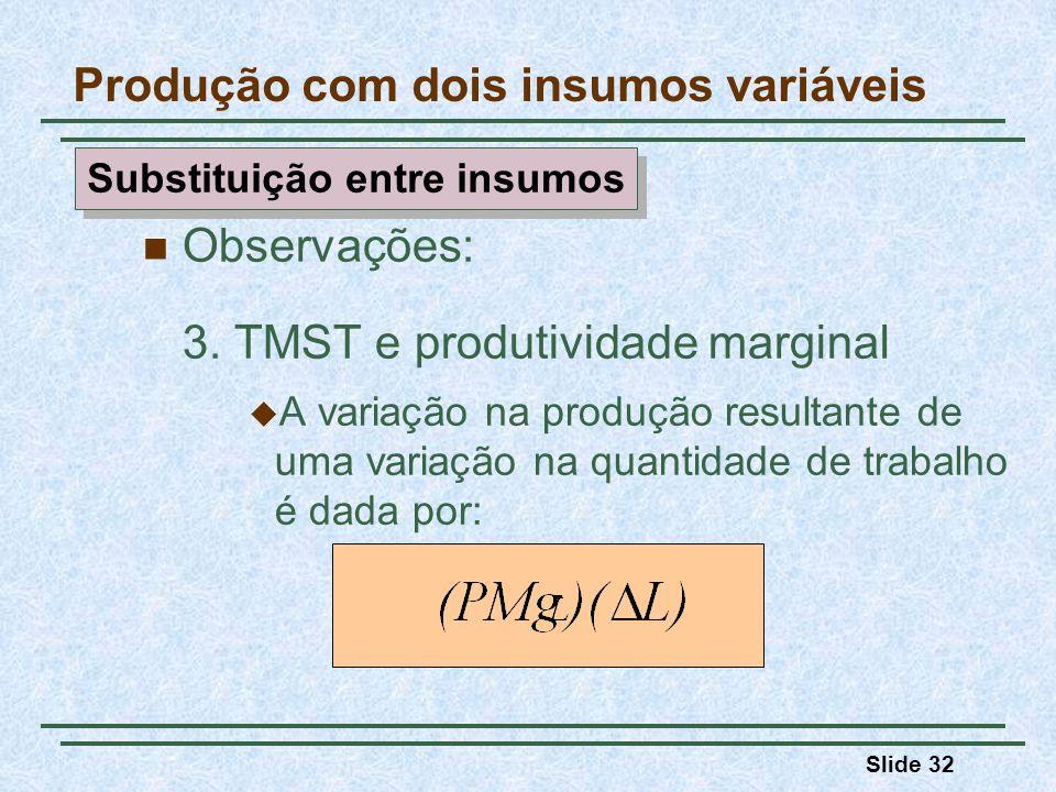 Slide 32 Observações: 3. TMST e produtividade marginal A variação na produção resultante de uma variação na quantidade de trabalho é dada por: Produçã