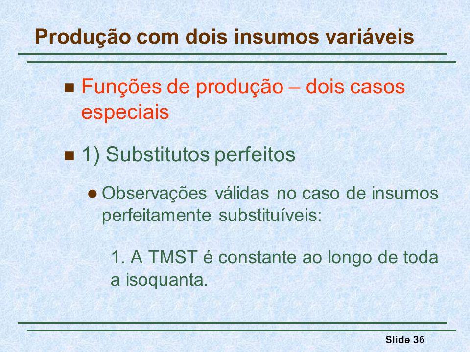 Slide 36 Funções de produção – dois casos especiais 1) Substitutos perfeitos Observações válidas no caso de insumos perfeitamente substituíveis: 1. A