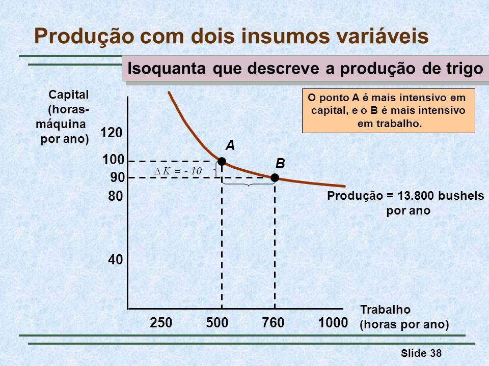 Slide 38 Trabalho (horas por ano) Capital (horas- máquina por ano) 2505007601000 40 80 120 100 90 Produção = 13.800 bushels por ano A B O ponto A é ma