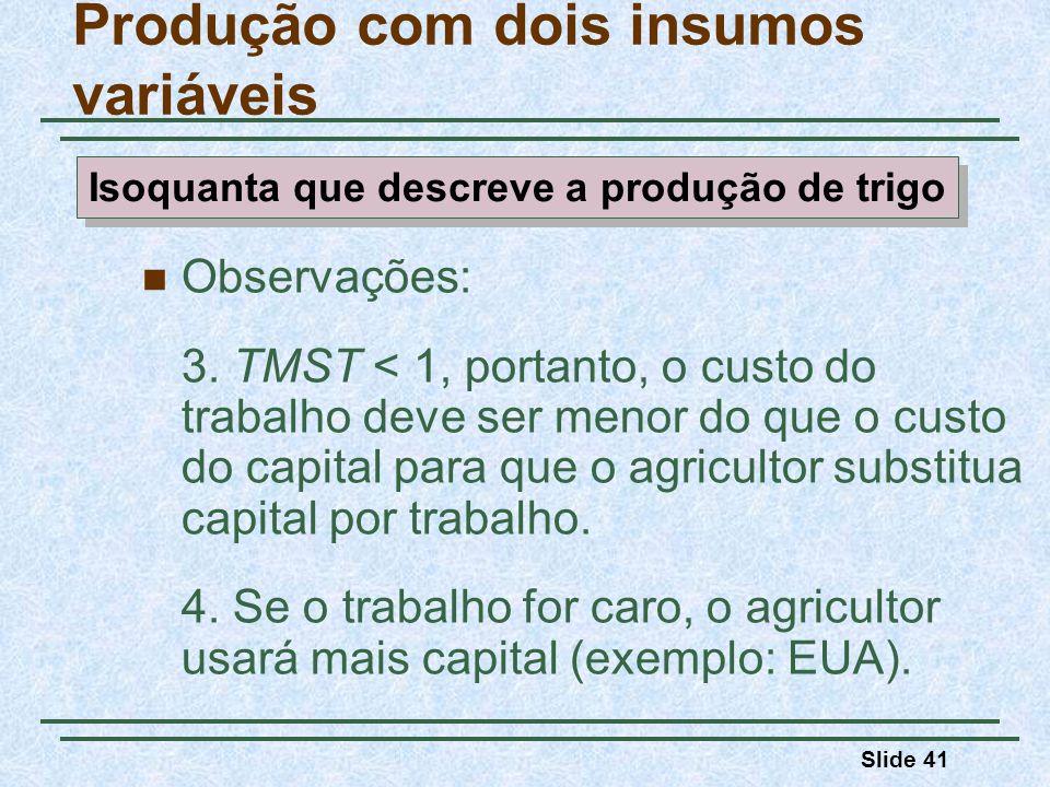 Slide 41 Observações: 3. TMST < 1, portanto, o custo do trabalho deve ser menor do que o custo do capital para que o agricultor substitua capital por