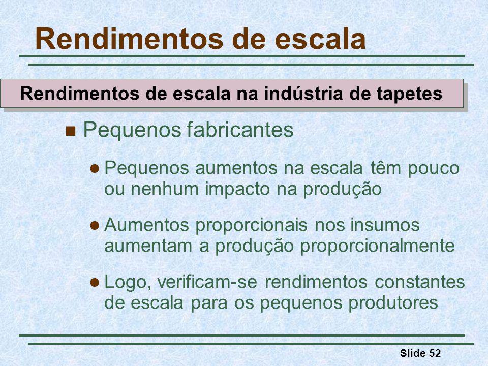 Slide 52 Rendimentos de escala Pequenos fabricantes Pequenos aumentos na escala têm pouco ou nenhum impacto na produção Aumentos proporcionais nos ins