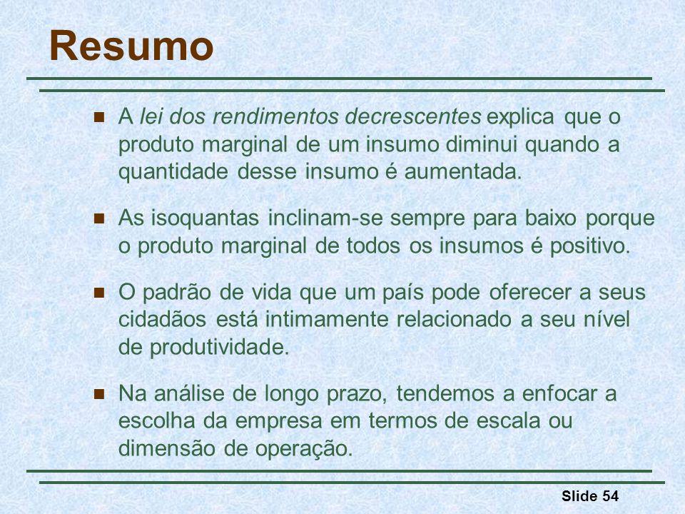 Slide 54 Resumo A lei dos rendimentos decrescentes explica que o produto marginal de um insumo diminui quando a quantidade desse insumo é aumentada. A