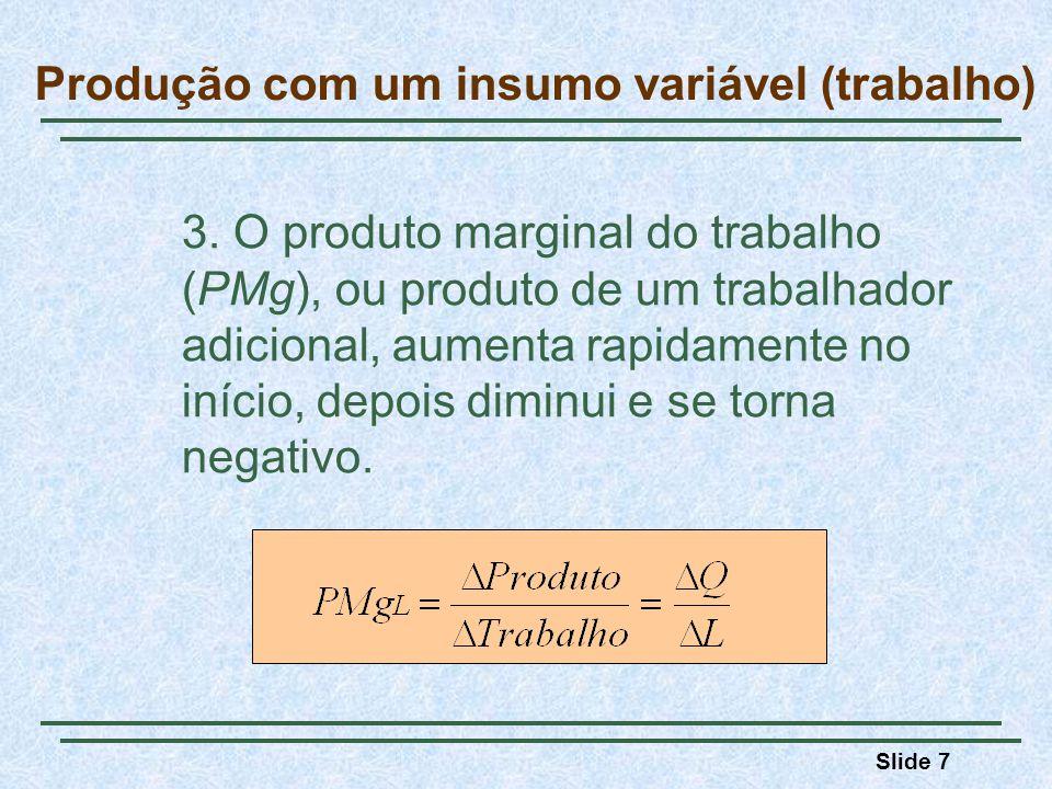 Slide 7 3. O produto marginal do trabalho (PMg), ou produto de um trabalhador adicional, aumenta rapidamente no início, depois diminui e se torna nega