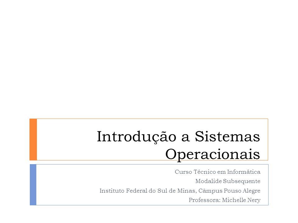 Introdução a Sistemas Operacionais Curso Técnico em Informática Modalide Subsequente Instituto Federal do Sul de Minas, Câmpus Pouso Alegre Professora
