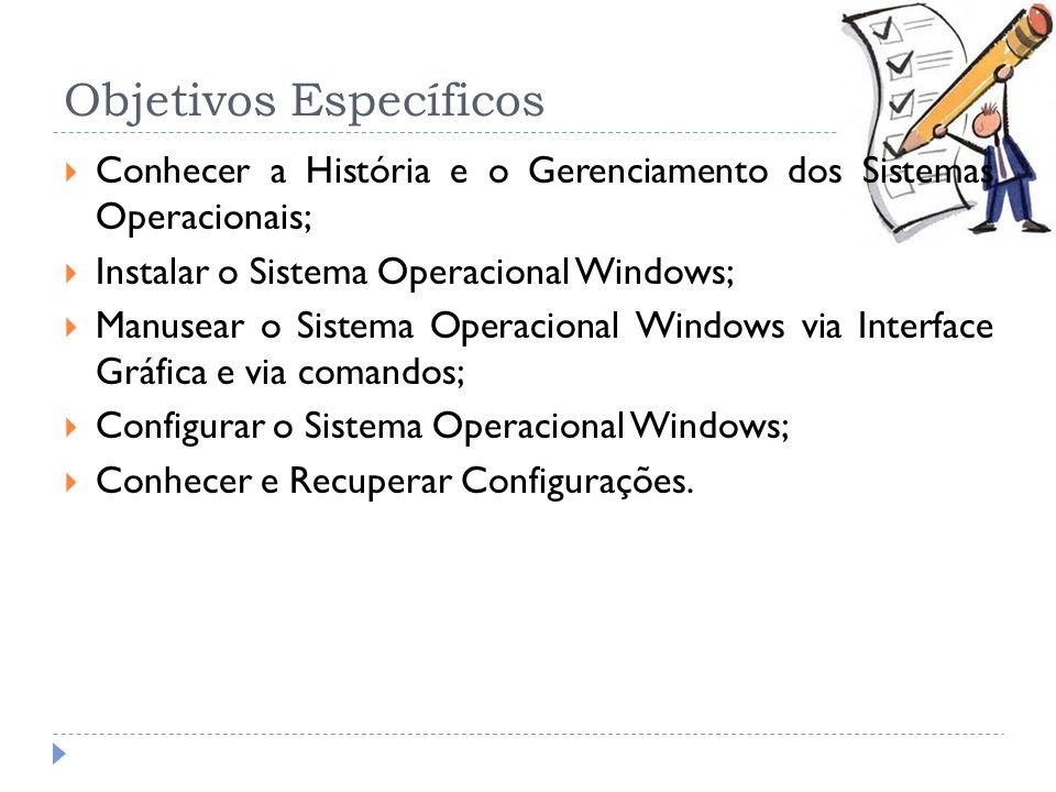 Objetivos Específicos Conhecer a História e o Gerenciamento dos Sistemas Operacionais; Instalar o Sistema Operacional Windows; Manusear o Sistema Oper