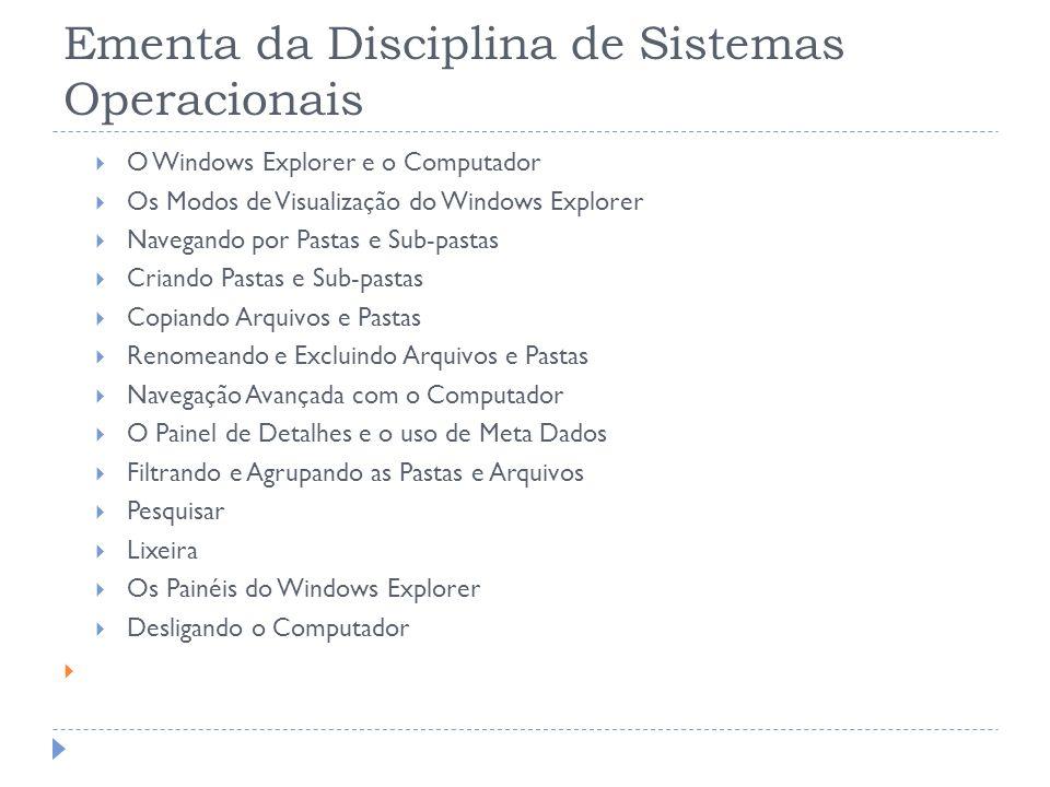 Ementa da Disciplina de Sistemas Operacionais O Windows Explorer e o Computador Os Modos de Visualização do Windows Explorer Navegando por Pastas e Su