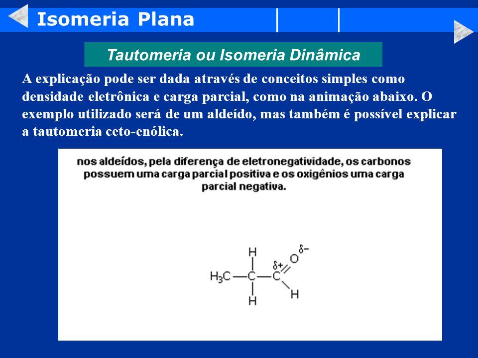 Isomeria Plana Tautomeria ou Isomeria Dinâmica A explicação pode ser dada através de conceitos simples como densidade eletrônica e carga parcial, como na animação abaixo.