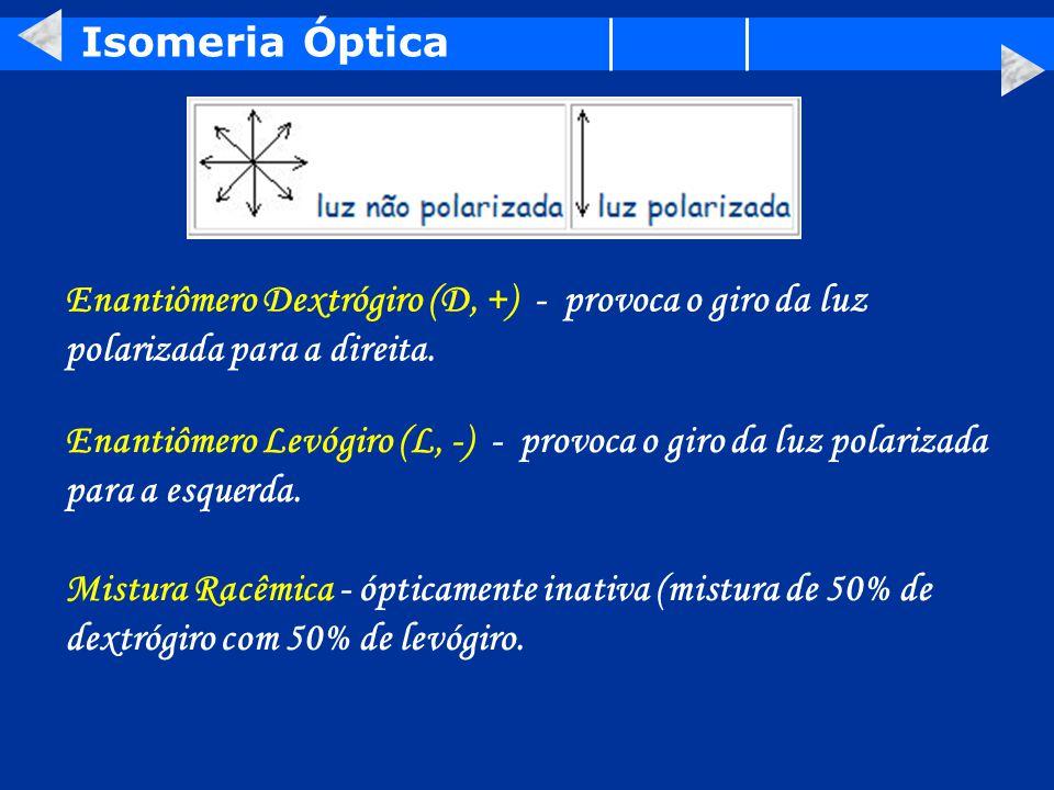 Isomeria Óptica Enantiômero Dextrógiro (D, +) - provoca o giro da luz polarizada para a direita.