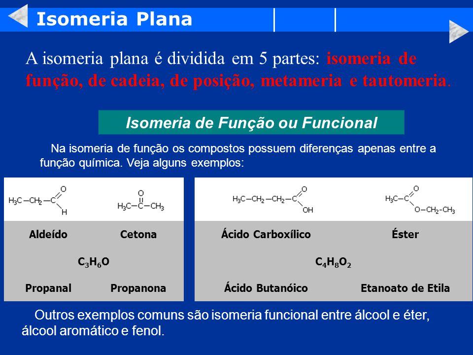 Isomeria Plana A isomeria plana é dividida em 5 partes: isomeria de função, de cadeia, de posição, metameria e tautomeria.
