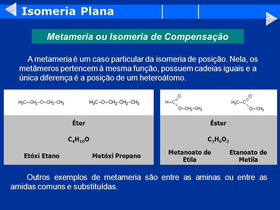 Isomeria Plana Metameria ou Isomeria de Compensação A metameria é um caso particular da isomeria de posição.