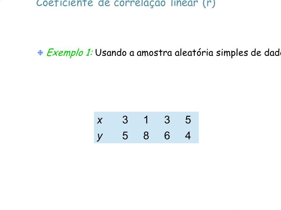 Coeficiente de correlação linear (r) Exemplo 1: Usando a amostra aleatória simples de dados a seguir, ache o valor do coeficiente de correlação linear