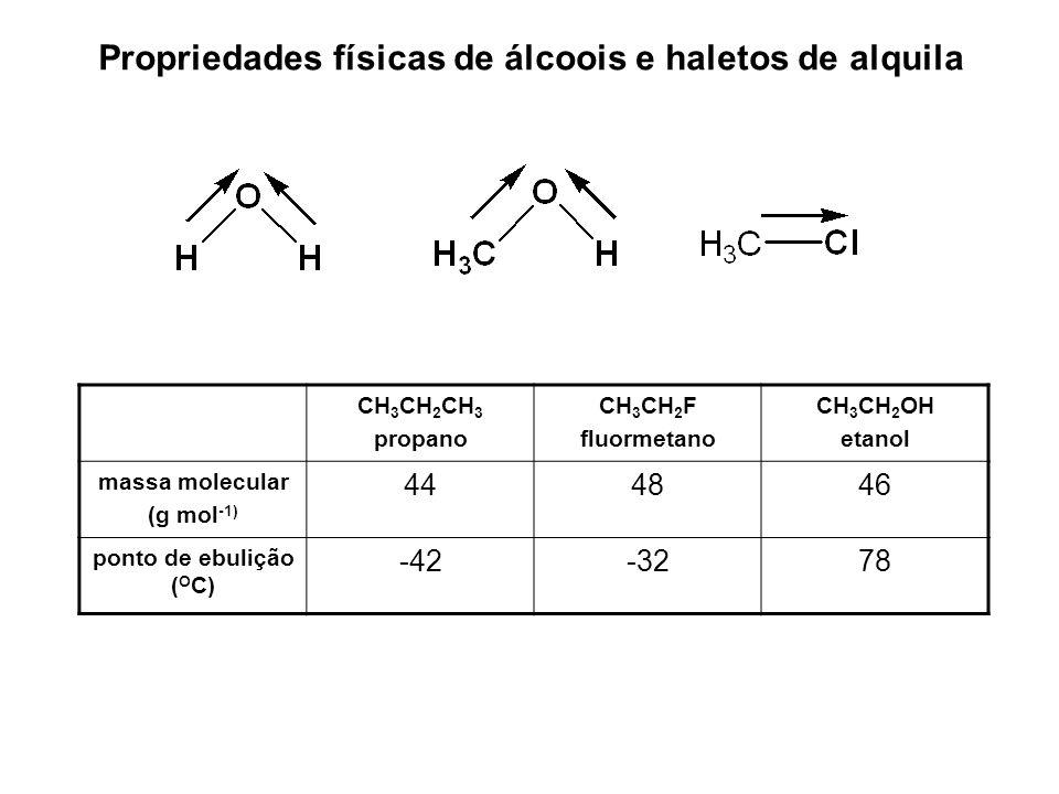 Propriedades físicas de álcoois e haletos de alquila CH 3 CH 2 CH 3 propano CH 3 CH 2 F fluormetano CH 3 CH 2 OH etanol massa molecular (g mol -1) 444