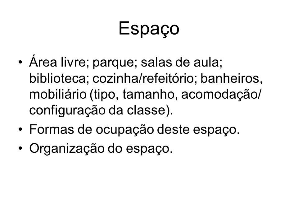 Espaço Área livre; parque; salas de aula; biblioteca; cozinha/refeitório; banheiros, mobiliário (tipo, tamanho, acomodação/ configuração da classe). F