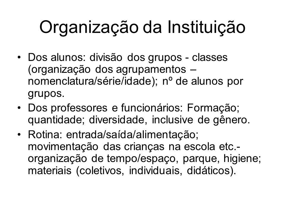 Organização da Instituição Dos alunos: divisão dos grupos - classes (organização dos agrupamentos – nomenclatura/série/idade); nº de alunos por grupos
