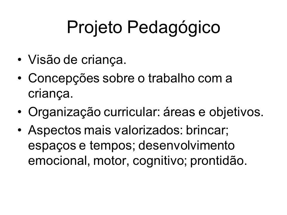 Projeto Pedagógico Visão de criança. Concepções sobre o trabalho com a criança. Organização curricular: áreas e objetivos. Aspectos mais valorizados: