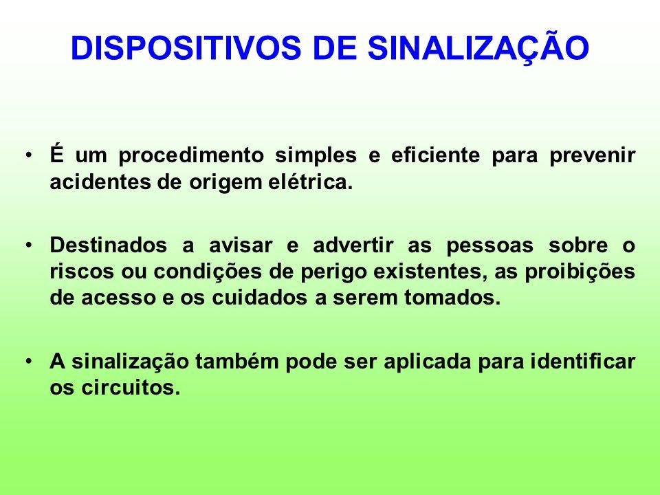 DISPOSITIVOS DE SINALIZAÇÃO É um procedimento simples e eficiente para prevenir acidentes de origem elétrica. Destinados a avisar e advertir as pessoa