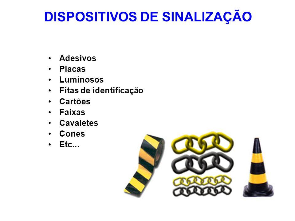 DISPOSITIVOS DE SINALIZAÇÃO Adesivos Placas Luminosos Fitas de identificação Cartões Faixas Cavaletes Cones Etc...