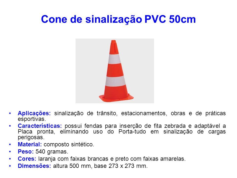 Cone de sinalização PVC 50cm Aplicações: sinalização de trânsito, estacionamentos, obras e de práticas esportivas. Características: possui fendas para