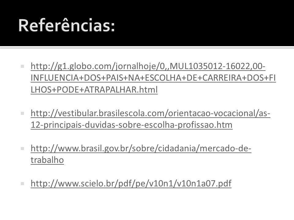 http://g1.globo.com/jornalhoje/0,,MUL1035012-16022,00- INFLUENCIA+DOS+PAIS+NA+ESCOLHA+DE+CARREIRA+DOS+FI LHOS+PODE+ATRAPALHAR.html http://g1.globo.com