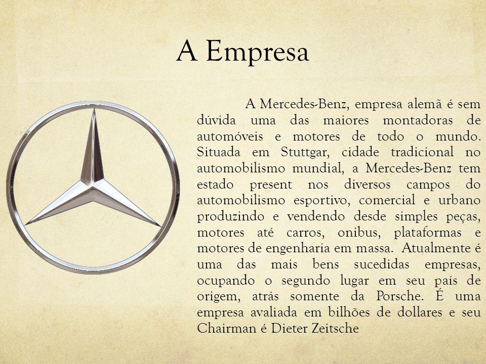 A Empresa A Mercedes-Benz, empresa alemã é sem dúvida uma das maiores montadoras de automóveis e motores de todo o mundo. Situada em Stuttgar, cidade