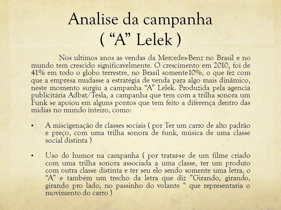 Analise da campanha ( A Lelek ) Nos ultimos anos as vendas da Mercedes-Benz no Brasil e no mundo tem crescido significavelmente. O crescimento em 2010