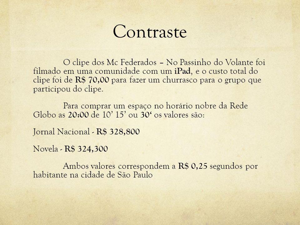 Contraste O clipe dos Mc Federados – No Passinho do Volante foi filmado em uma comunidade com um iPad, e o custo total do clipe foi de R$ 70,00 para f