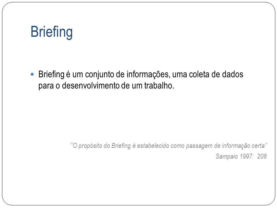 Briefing Briefing é um conjunto de informações, uma coleta de dados para o desenvolvimento de um trabalho. O propósito do Briefing é estabelecido como