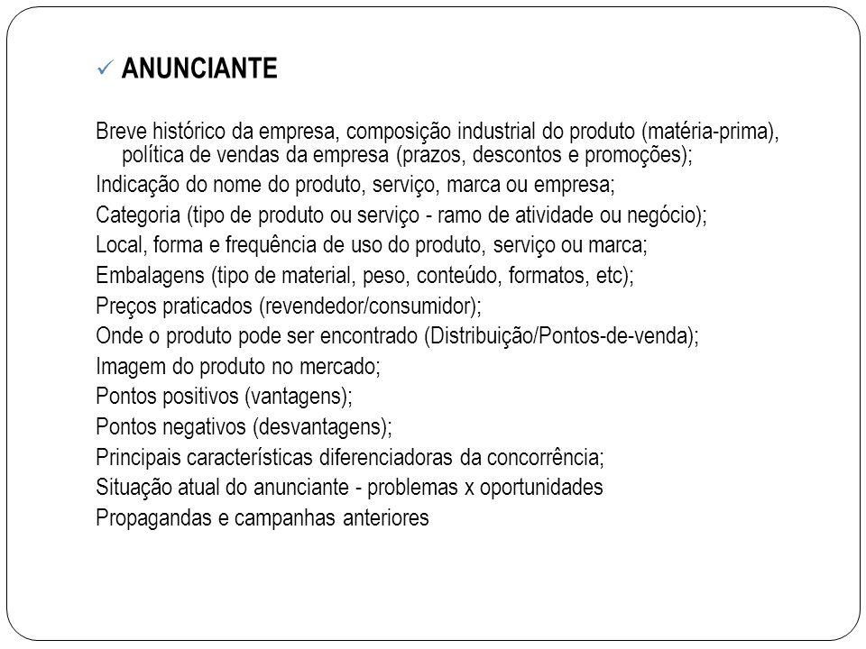 ANUNCIANTE Breve histórico da empresa, composição industrial do produto (matéria-prima), política de vendas da empresa (prazos, descontos e promoções)
