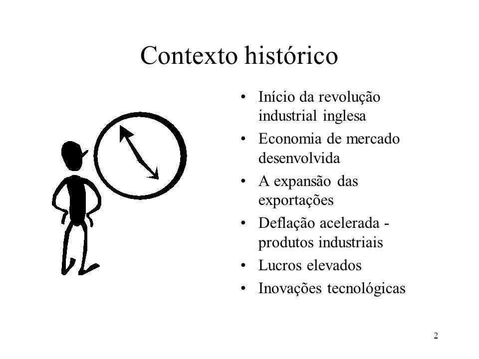 2 Contexto histórico Início da revolução industrial inglesa Economia de mercado desenvolvida A expansão das exportações Deflação acelerada - produtos industriais Lucros elevados Inovações tecnológicas