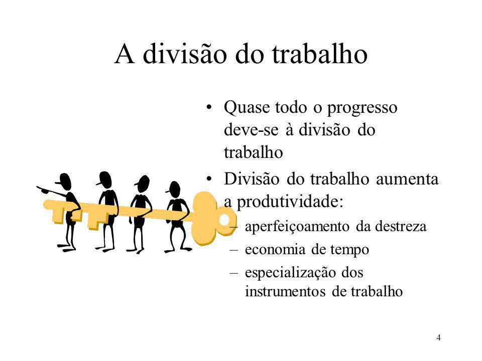 4 A divisão do trabalho Quase todo o progresso deve-se à divisão do trabalho Divisão do trabalho aumenta a produtividade: –aperfeiçoamento da destreza –economia de tempo –especialização dos instrumentos de trabalho
