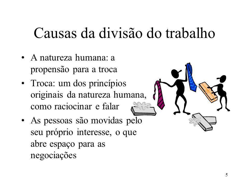 6 O egoísmo e as trocas A divisão do trabalho cria uma interdependência entre as pessoas.