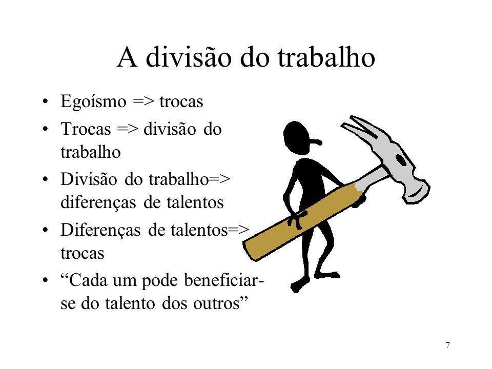 7 A divisão do trabalho Egoísmo => trocas Trocas => divisão do trabalho Divisão do trabalho=> diferenças de talentos Diferenças de talentos=> trocas Cada um pode beneficiar- se do talento dos outros