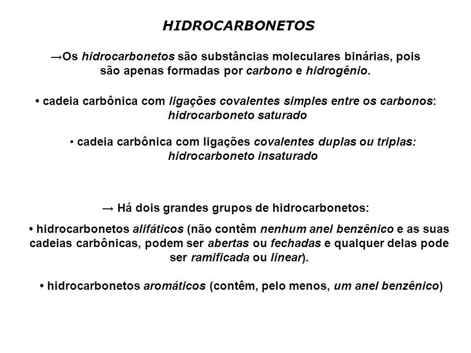 HIDROCARBONETOS Os hidrocarbonetos são substâncias moleculares binárias, pois são apenas formadas por carbono e hidrogênio. cadeia carbônica com ligaç