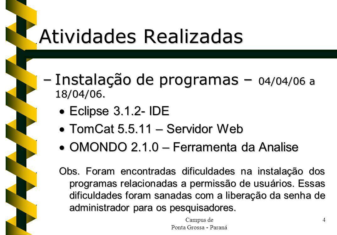 Campus de Ponta Grossa - Paraná 4 Atividades Realizadas –Instalação de programas – 04/04/06 a 18/04/06. Eclipse 3.1.2- IDE Eclipse 3.1.2- IDE TomCat 5