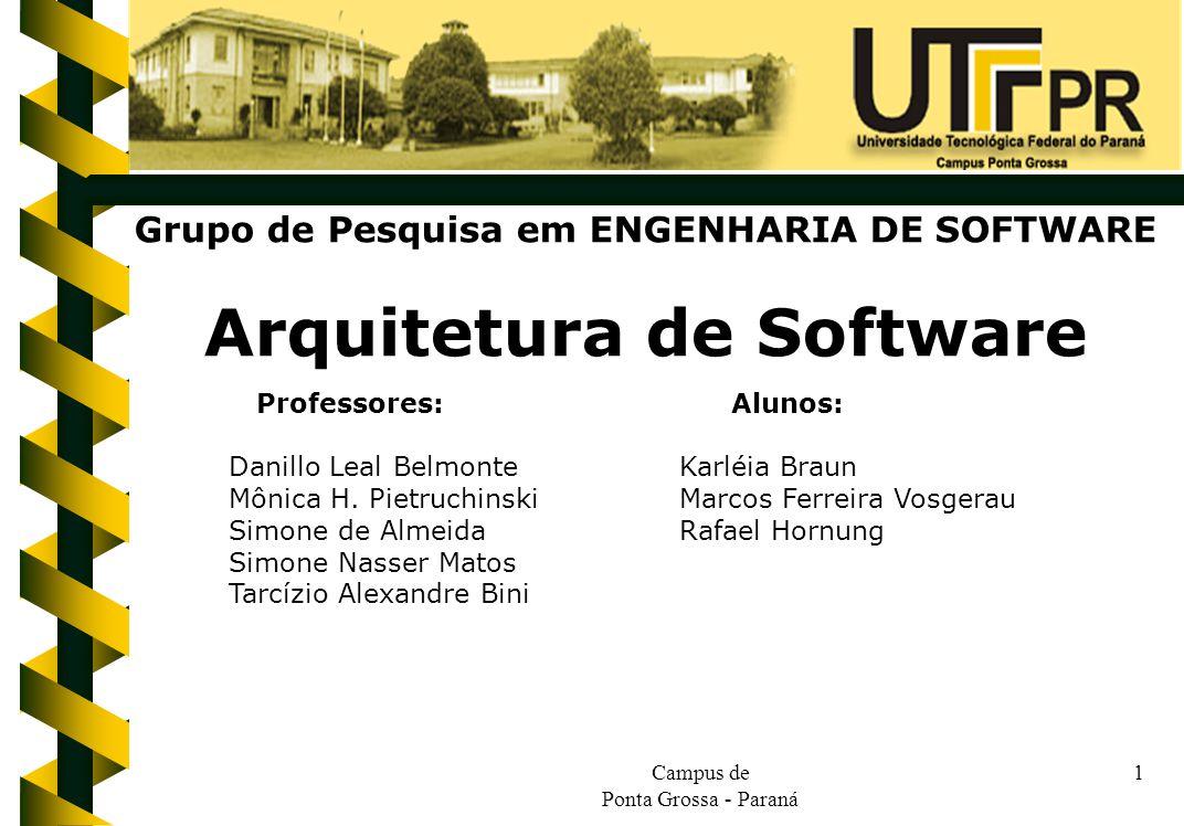 Campus de Ponta Grossa - Paraná 1 Grupo de Pesquisa em ENGENHARIA DE SOFTWARE Arquitetura de Software Professores: Alunos: Danillo Leal BelmonteKarléi