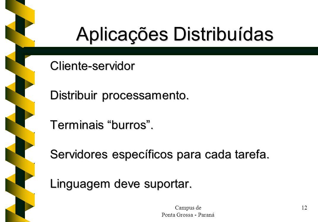 Campus de Ponta Grossa - Paraná 12 Aplicações Distribuídas Cliente-servidor Distribuir processamento. Terminais burros. Servidores específicos para ca