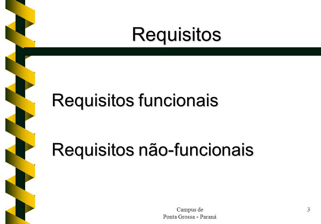 Campus de Ponta Grossa - Paraná 4 Requisitos (cont.) Requisitos funcionais: –Cadastro, alteração e exclusão de clientes e vendedores.