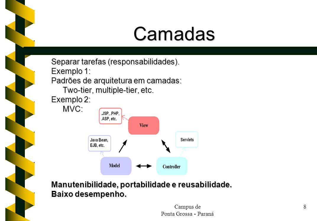 Campus de Ponta Grossa - Paraná 8 Camadas Separar tarefas (responsabilidades). Exemplo 1: Padrões de arquitetura em camadas: Two-tier, multiple-tier,