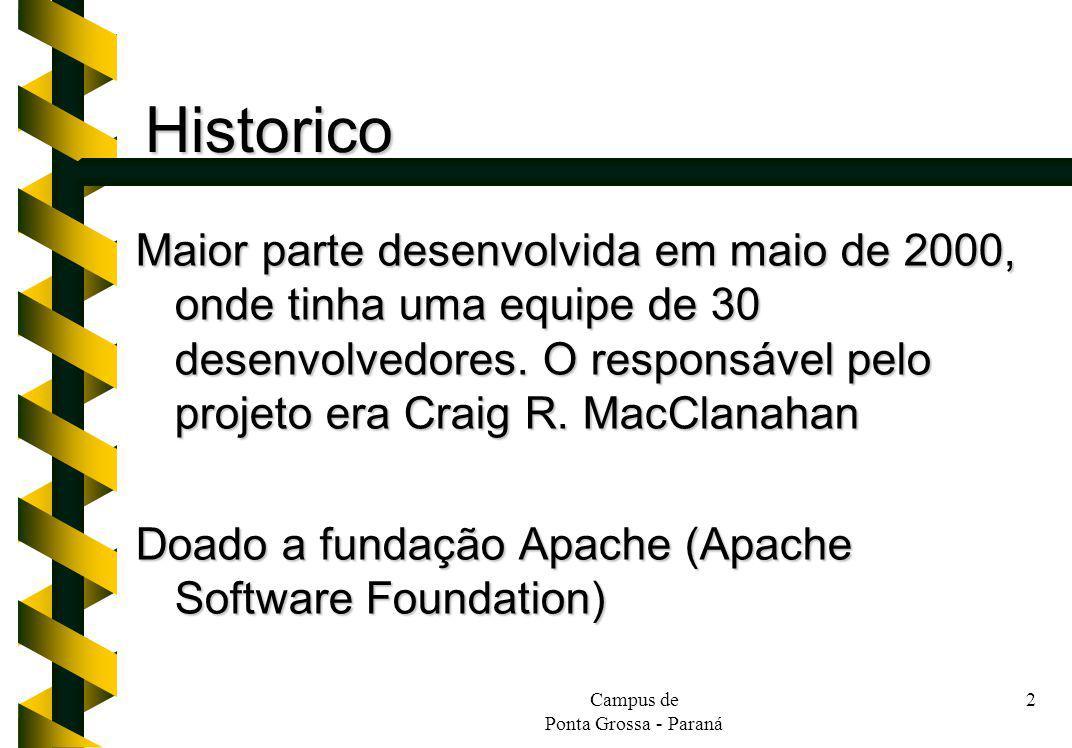 Campus de Ponta Grossa - Paraná 2 Historico Maior parte desenvolvida em maio de 2000, onde tinha uma equipe de 30 desenvolvedores. O responsável pelo