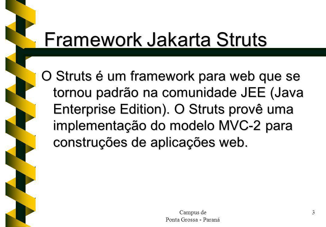 Campus de Ponta Grossa - Paraná 3 Framework Jakarta Struts O Struts é um framework para web que se tornou padrão na comunidade JEE (Java Enterprise Ed