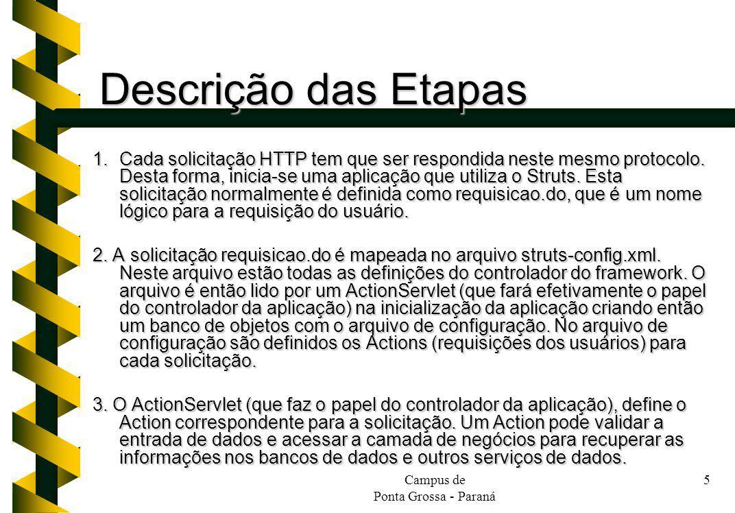 Campus de Ponta Grossa - Paraná 5 Descrição das Etapas 1.Cada solicitação HTTP tem que ser respondida neste mesmo protocolo. Desta forma, inicia-se um