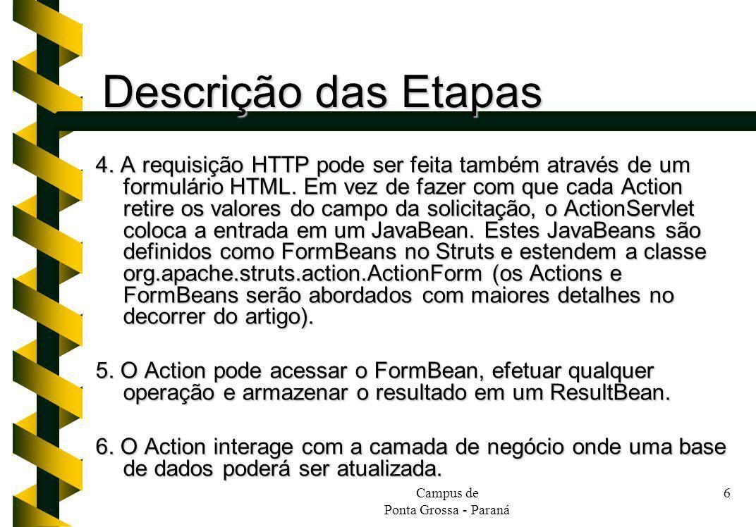Campus de Ponta Grossa - Paraná 6 Descrição das Etapas 4. A requisição HTTP pode ser feita também através de um formulário HTML. Em vez de fazer com q