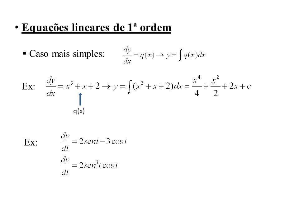 Equações lineares de 1ª ordem Caso mais simples: Ex: q(x) Ex: